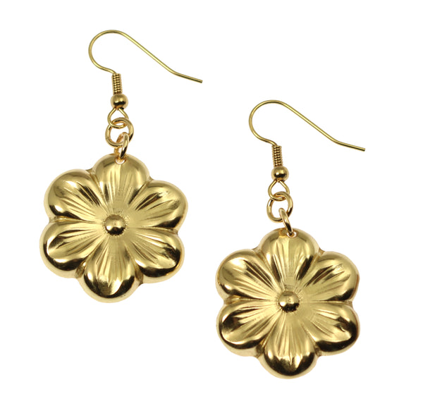 Nu Gold Cherry Blossom Flower Earrings