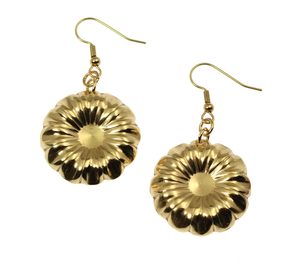 Nu Gold  Chrysanthemum Flower Drop Earrings