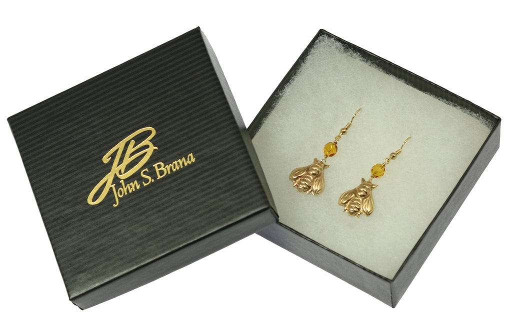 Nu Gold Honey Bee Earrings with Amber