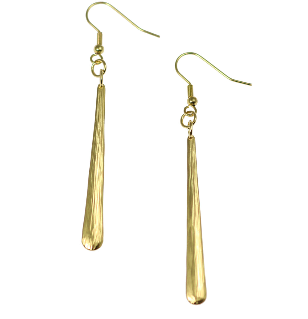 Mini Chased Nu Gold Brass Drop Earrings