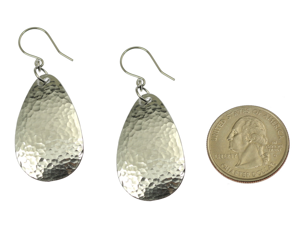 Small Hammered Aluminum Tear Drop Earrings