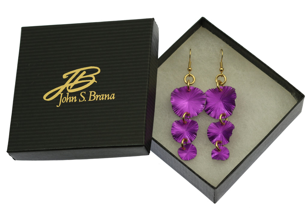 Three Tiered Violet Anodized Aluminum Lily Pad Earrings