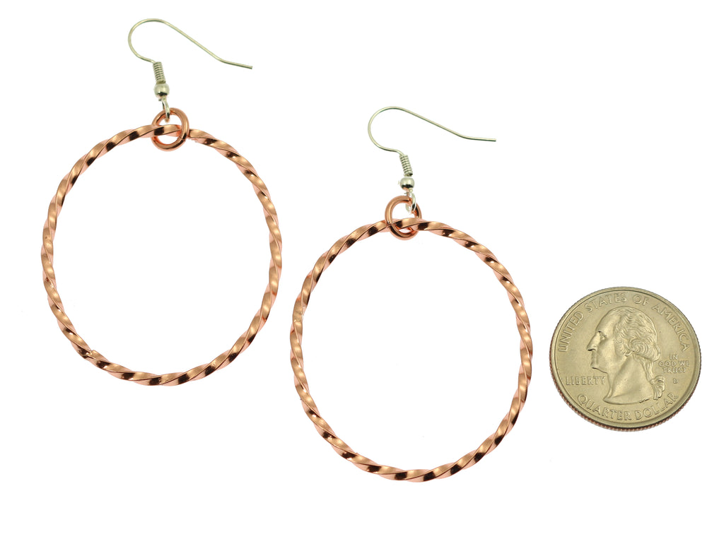 Twisted Cable Oval Copper Hoop Earrings