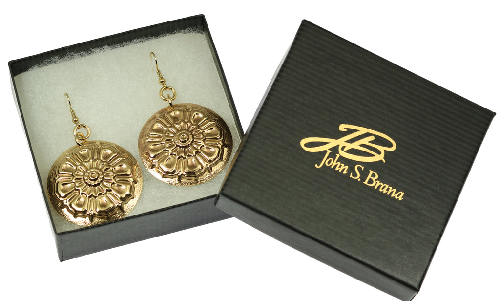 Victorian Button Nu Gold Disc Earrings