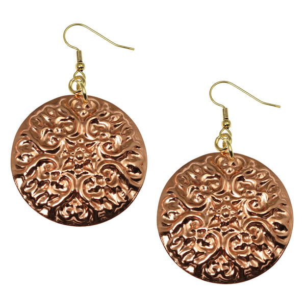 Victorian Night Copper Disc Earrings