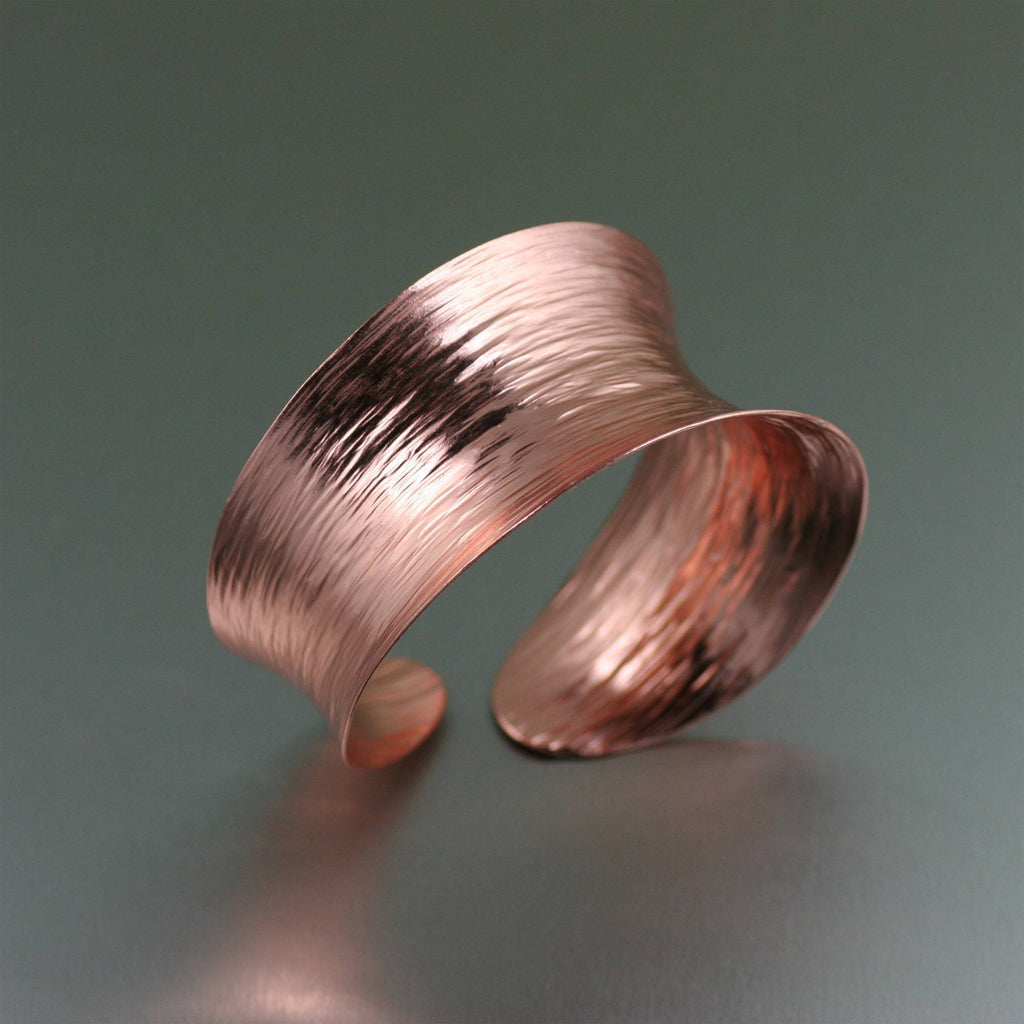 Anticlastic Copper Bark Bangle Bracelet - johnsbrana - 1