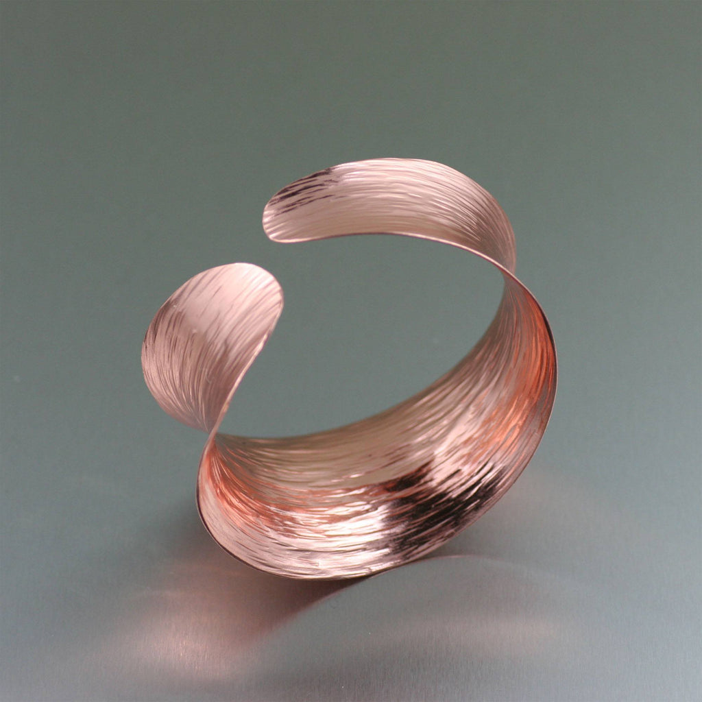 Anticlastic Copper Bark Bangle Bracelet - johnsbrana - 3