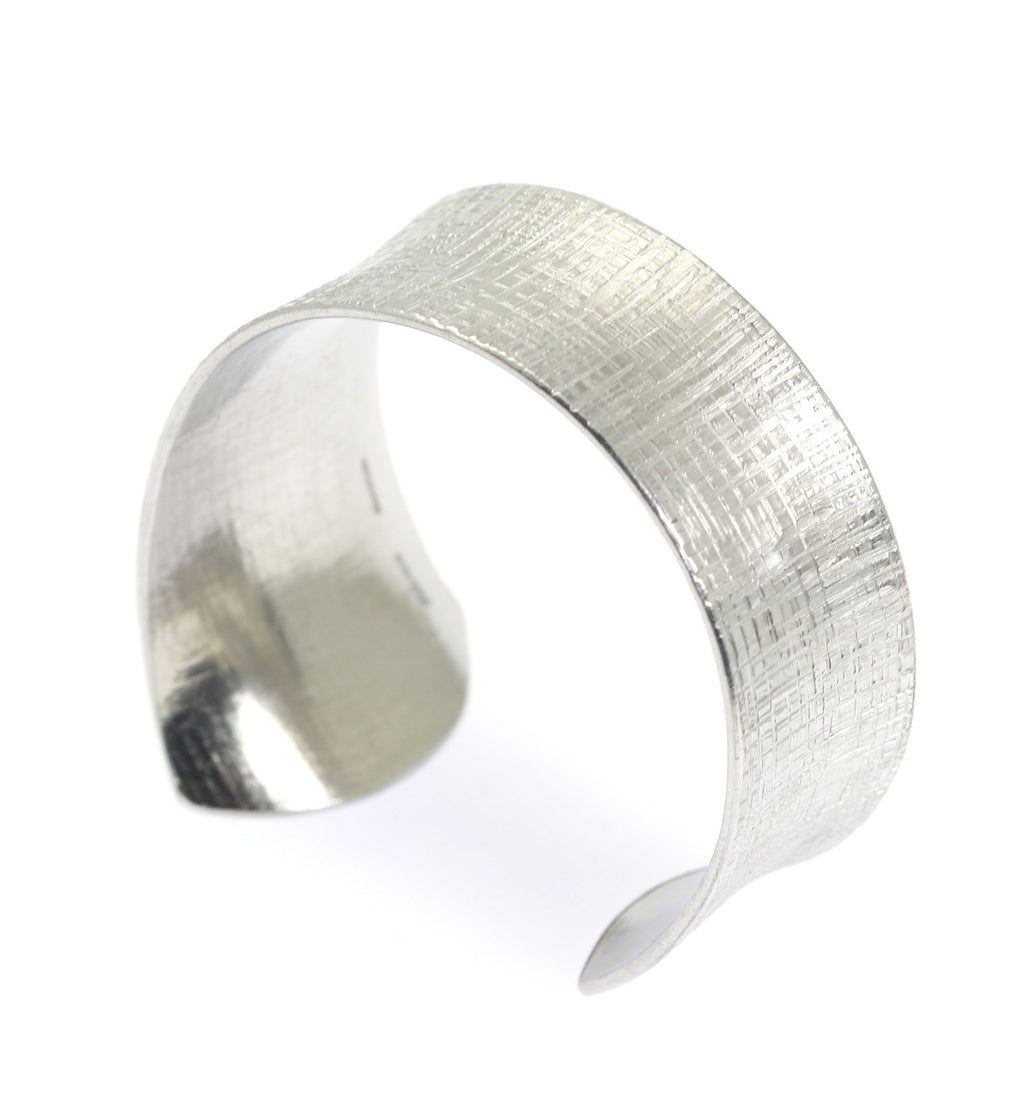 Anticlastic Tapered Linen Aluminum Bangle Bracelet - johnsbrana - 2