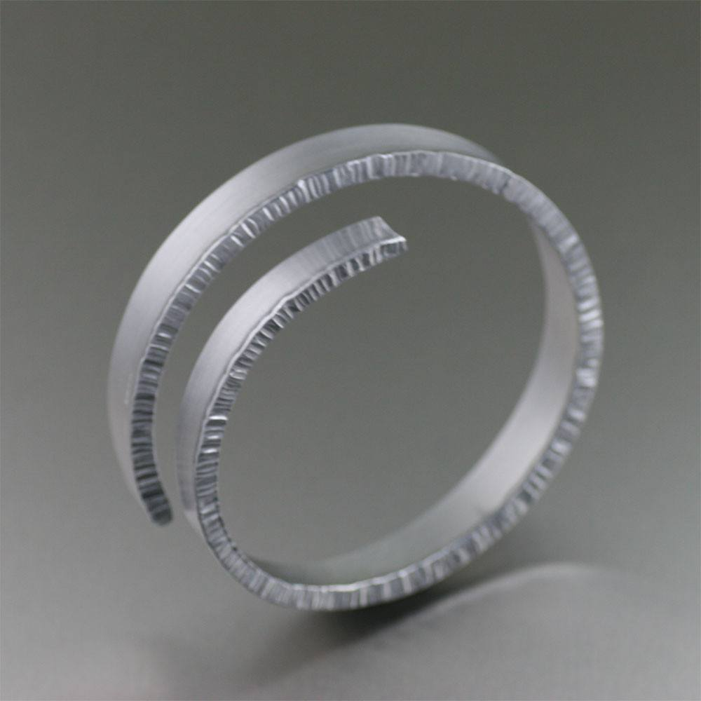 Brushed Aluminum Spiral Bangle Bracelet - johnsbrana - 1