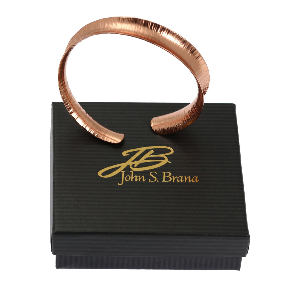 Chased Anticlastic Copper Bangle Bracelet - johnsbrana - 5