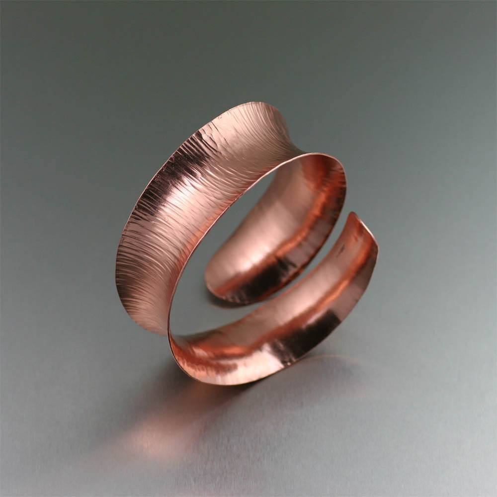 Chased Copper Anticlastic Bangle Bracelet - johnsbrana