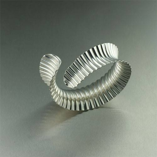 Corrugated Sterling Silver Bangle Bracelet - johnsbrana - 4