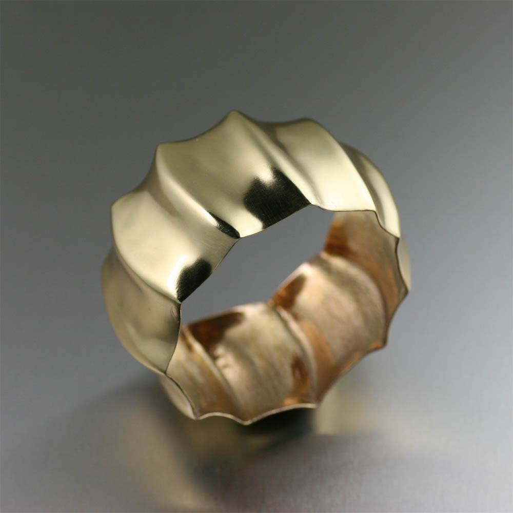 Fluted Nu Gold Brass Bangle - johnsbrana - 1
