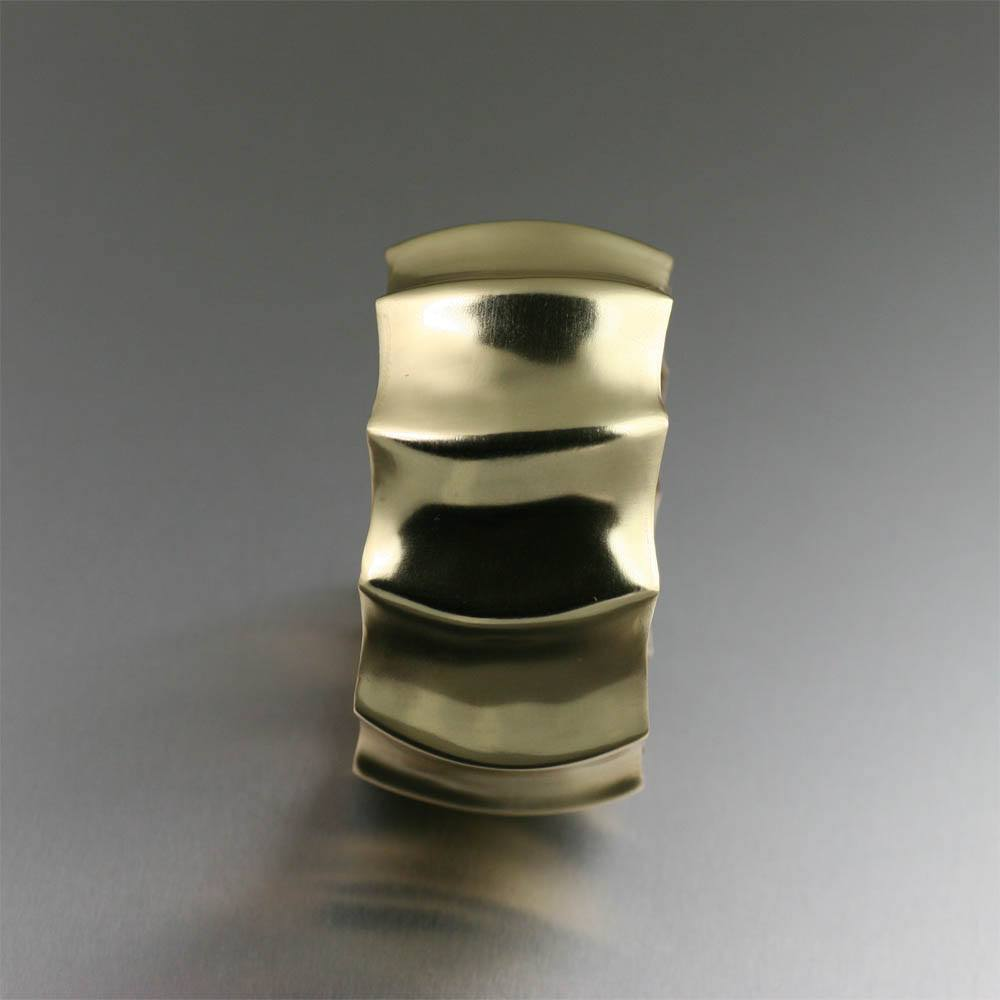 Fluted Nu Gold Brass Bangle - johnsbrana - 2