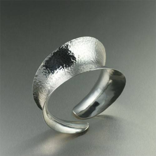 Hammered Sterling Silver Anticlastic Banlge Bracelet - johnsbrana - 1