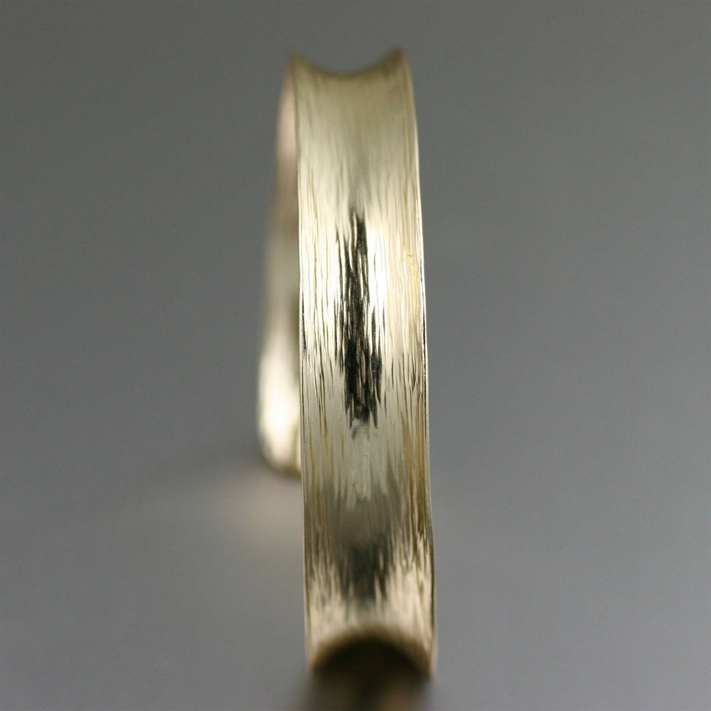 Nu Gold Brass Bark Anticlastic Bangle Bracelet - johnsbrana - 2