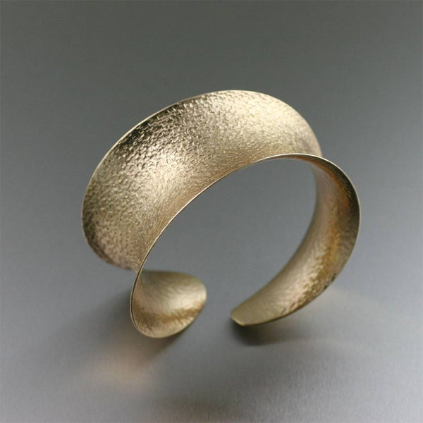 Texturized Nu Gold Brass Anticlastic Bangle Bracelet - johnsbrana - 1