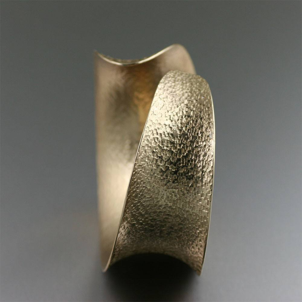 Texturized Nu Gold Brass Anticlastic Bangle Bracelet - johnsbrana - 2