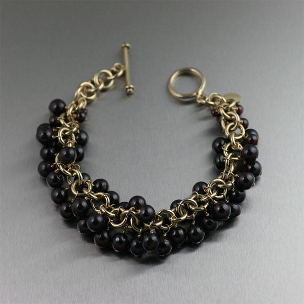 14K Gold-filled Garnet Chainmail Bracelet - johnsbrana - 1