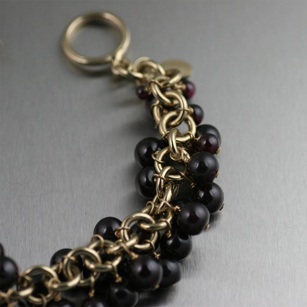 14K Gold-filled Garnet Chainmail Bracelet - johnsbrana - 2