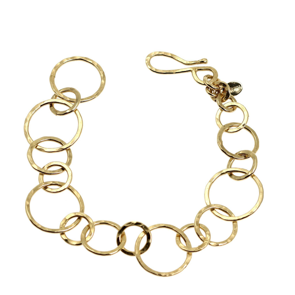14K Gold-filled Hammered Link Chain Bracelet - johnsbrana - 1