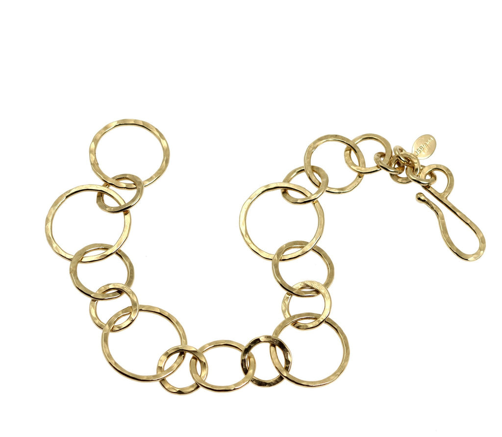 14K Gold-filled Hammered Link Chain Bracelet - johnsbrana - 2