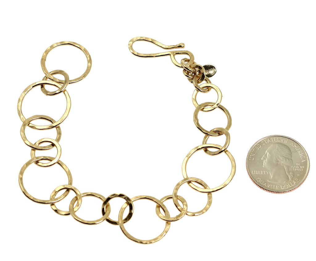 14K Gold-filled Hammered Link Chain Bracelet - johnsbrana - 3