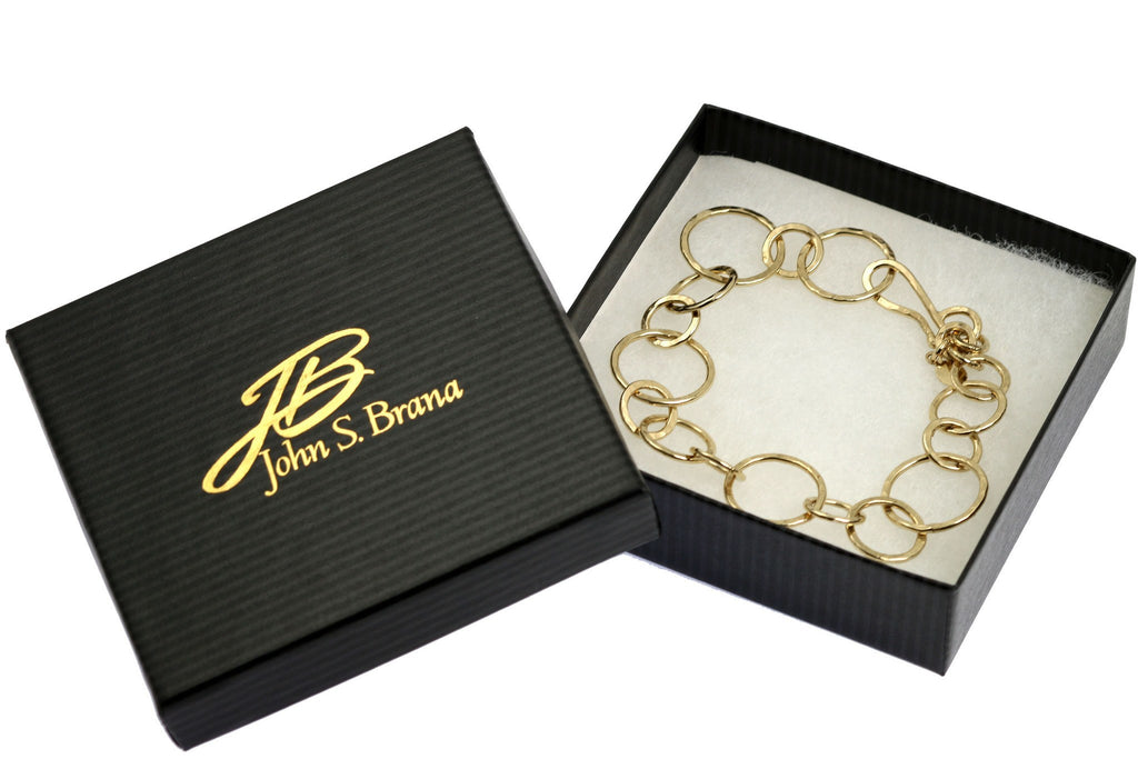 Bracelets - 14K Gold-filled Hammered Link Chain Bracelet