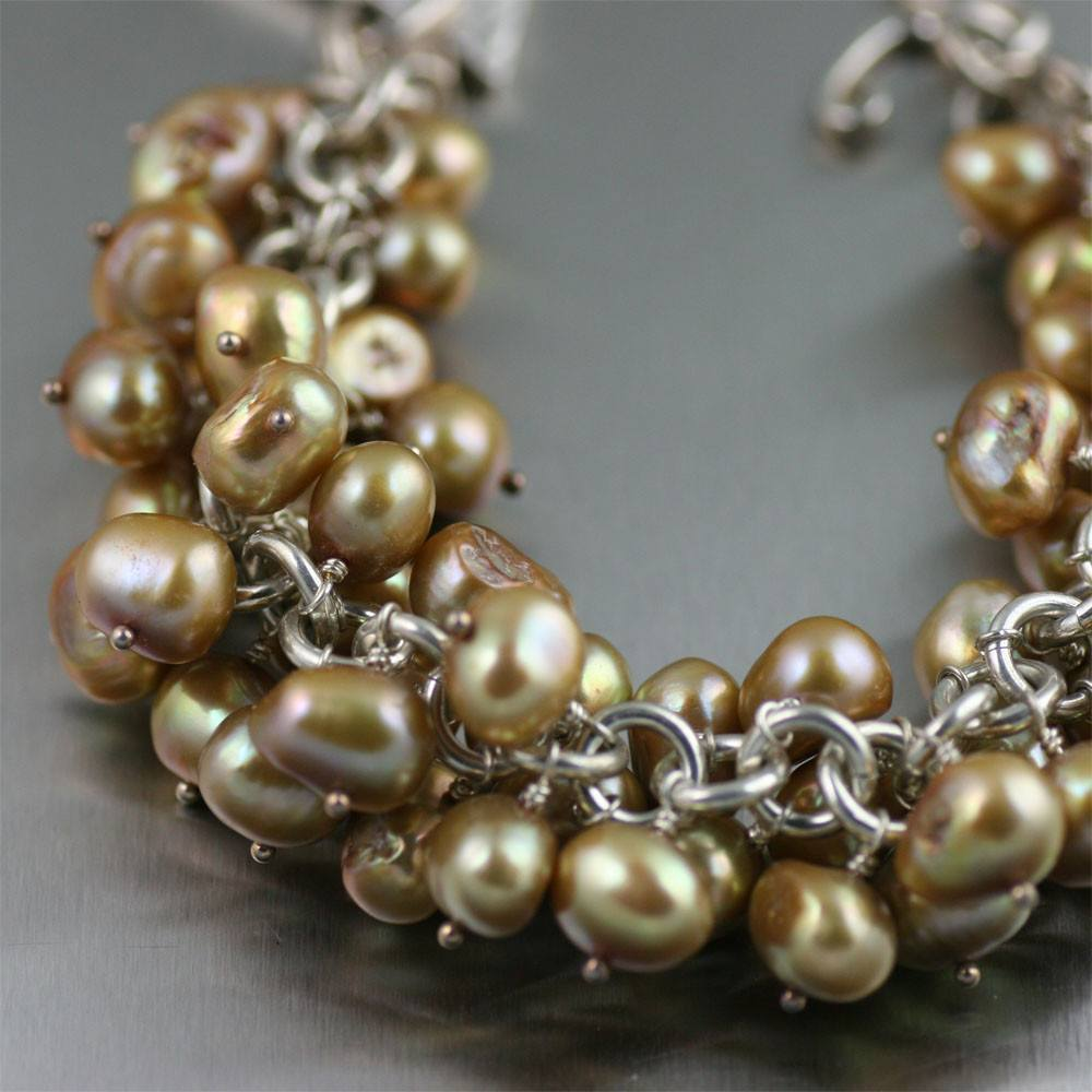Bracelets - Gold Freshwater Pearl Sterling Silver Chain Maille Bracelet