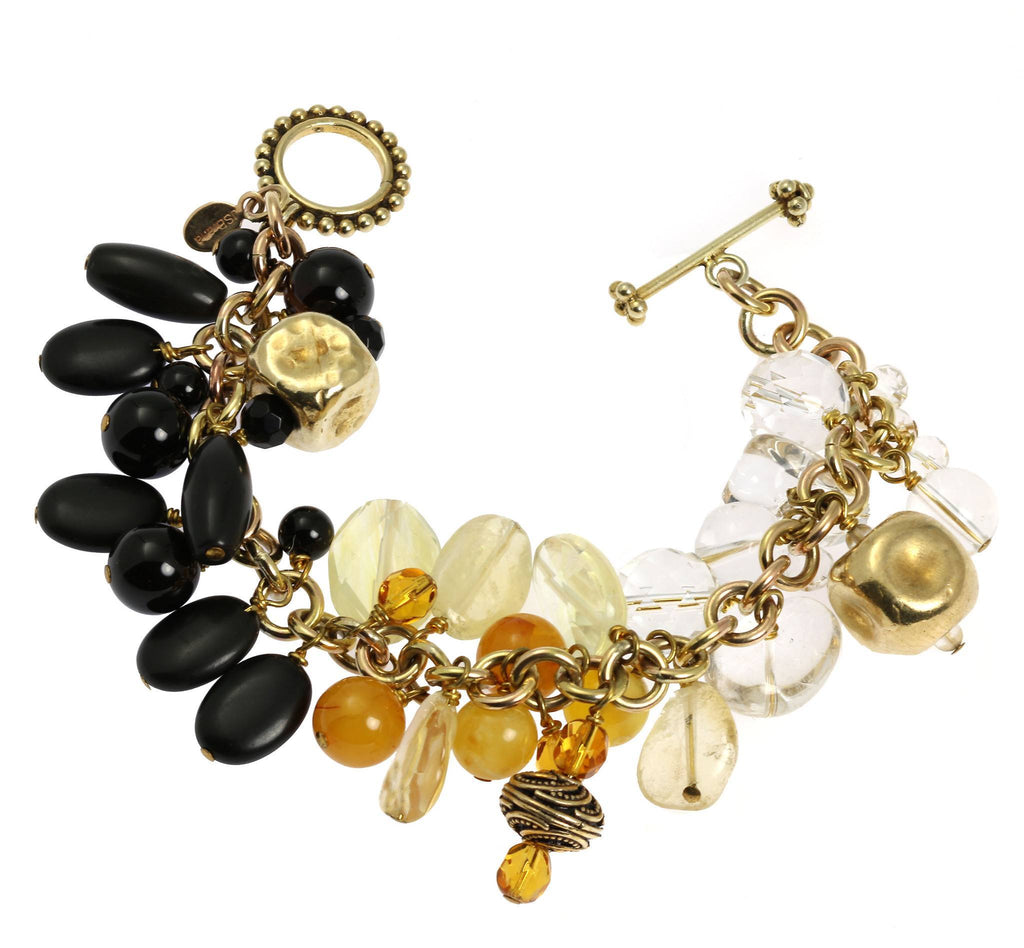Onyx Amber Clear Quartz 14K Gold-filled Chain Maille Bracelet - johnsbrana - 1