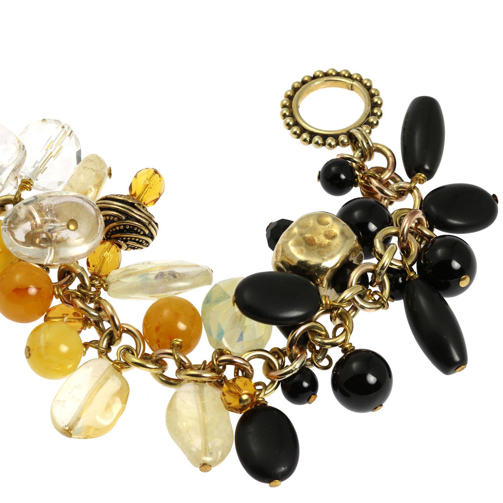 Onyx Amber Clear Quartz 14K Gold-filled Chain Maille Bracelet - johnsbrana - 3