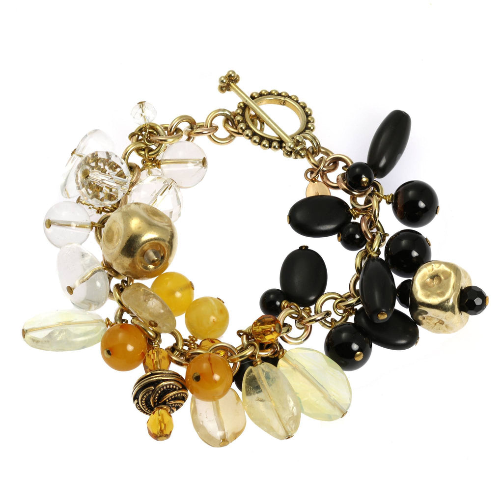 Onyx Amber Clear Quartz 14K Gold-filled Chain Maille Bracelet - johnsbrana - 5