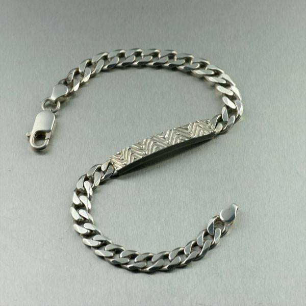 Oxidized Sterling Silver Men's Curb-link Bracelet - Sierra Collection - johnsbrana