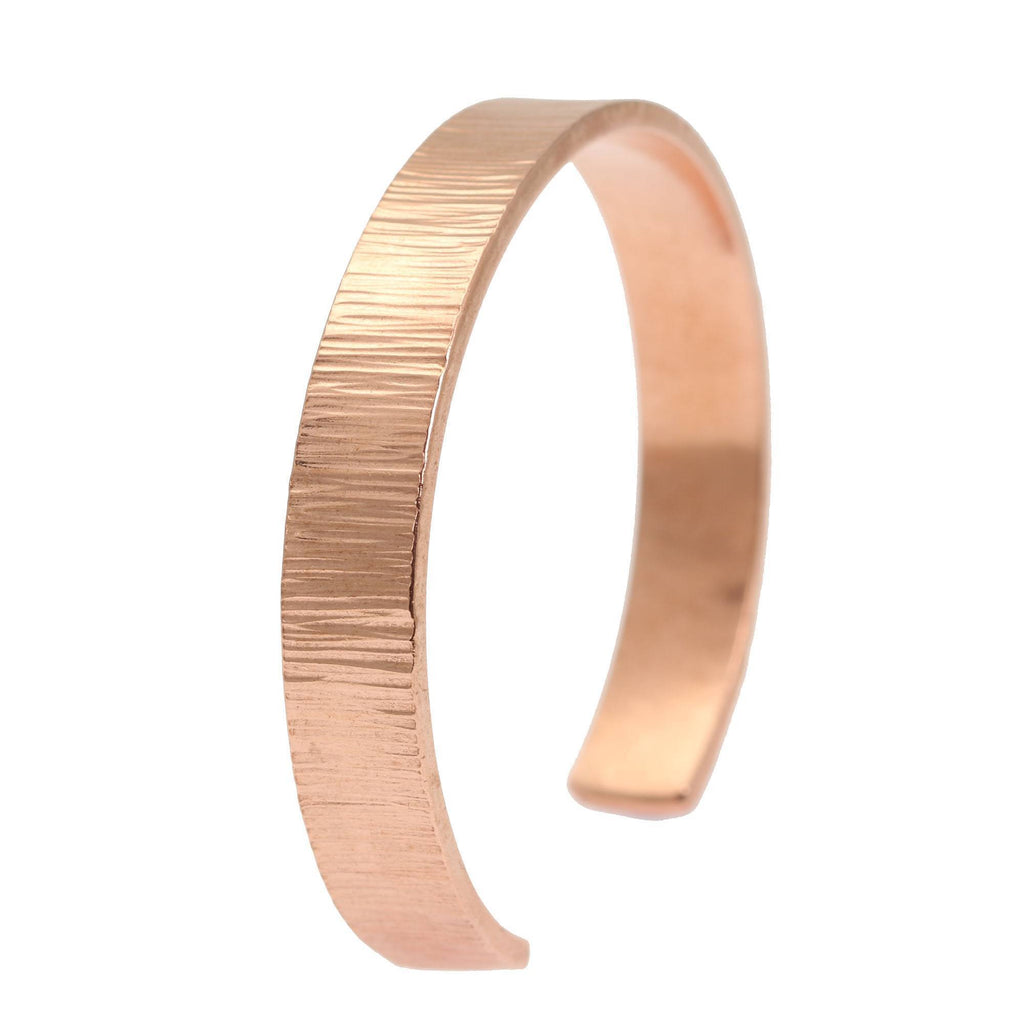 10mm Wide Chased Copper Cuff Bracelet - Solid Copper Cuff - johnsbrana - 1