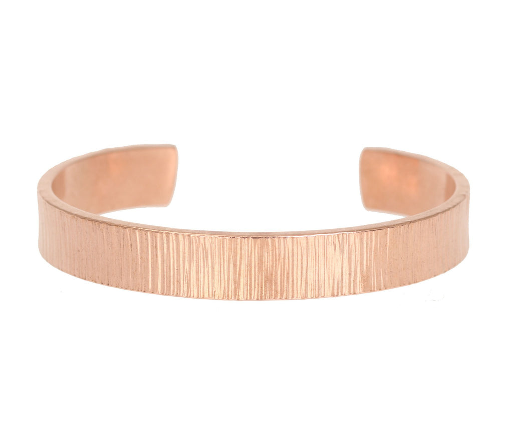 10mm Wide Chased Copper Cuff Bracelet - Solid Copper Cuff - johnsbrana - 2