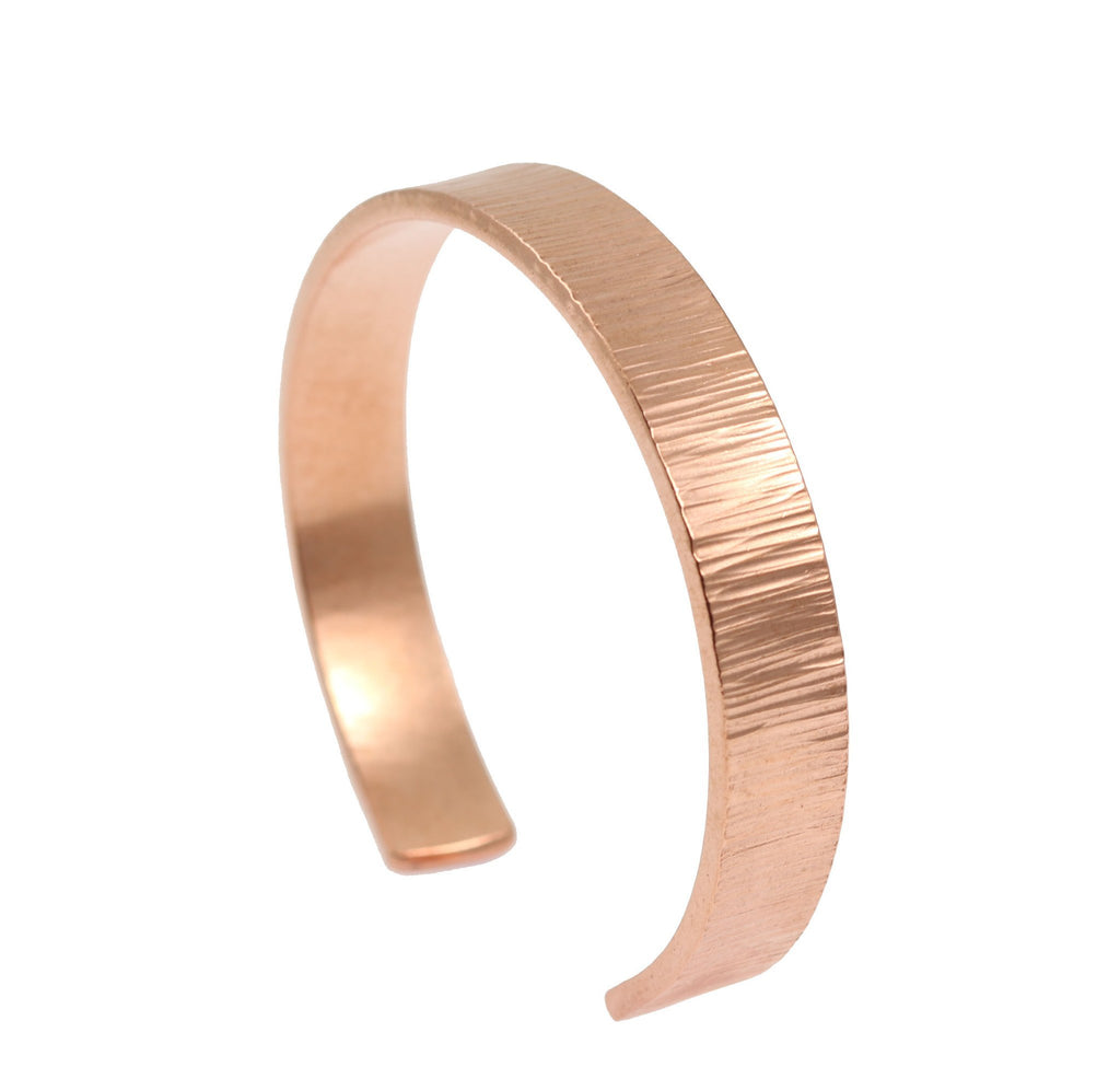 10mm Wide Chased Copper Cuff Bracelet - Solid Copper Cuff - johnsbrana - 3