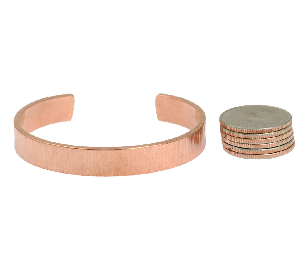10mm Wide Chased Copper Cuff Bracelet - Solid Copper Cuff - johnsbrana - 5