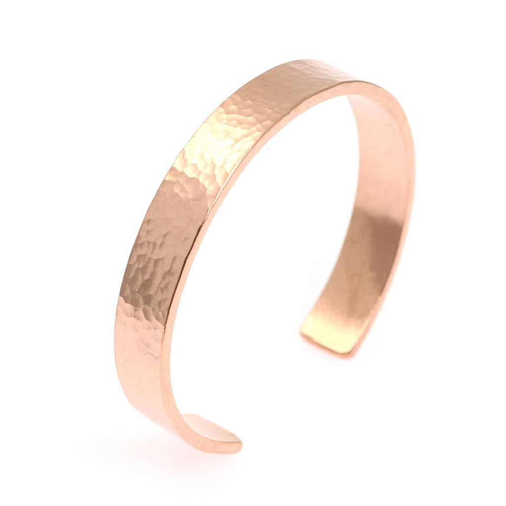10mm Wide Hammered Copper Cuff Bracelet - Solid Copper Cuff - johnsbrana - 1