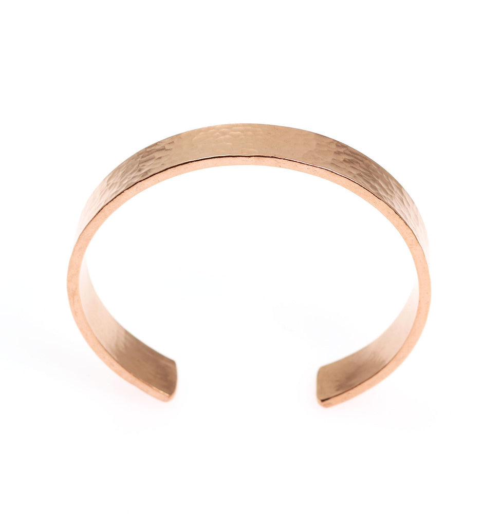 10mm Wide Hammered Copper Cuff Bracelet - Solid Copper Cuff - johnsbrana - 3