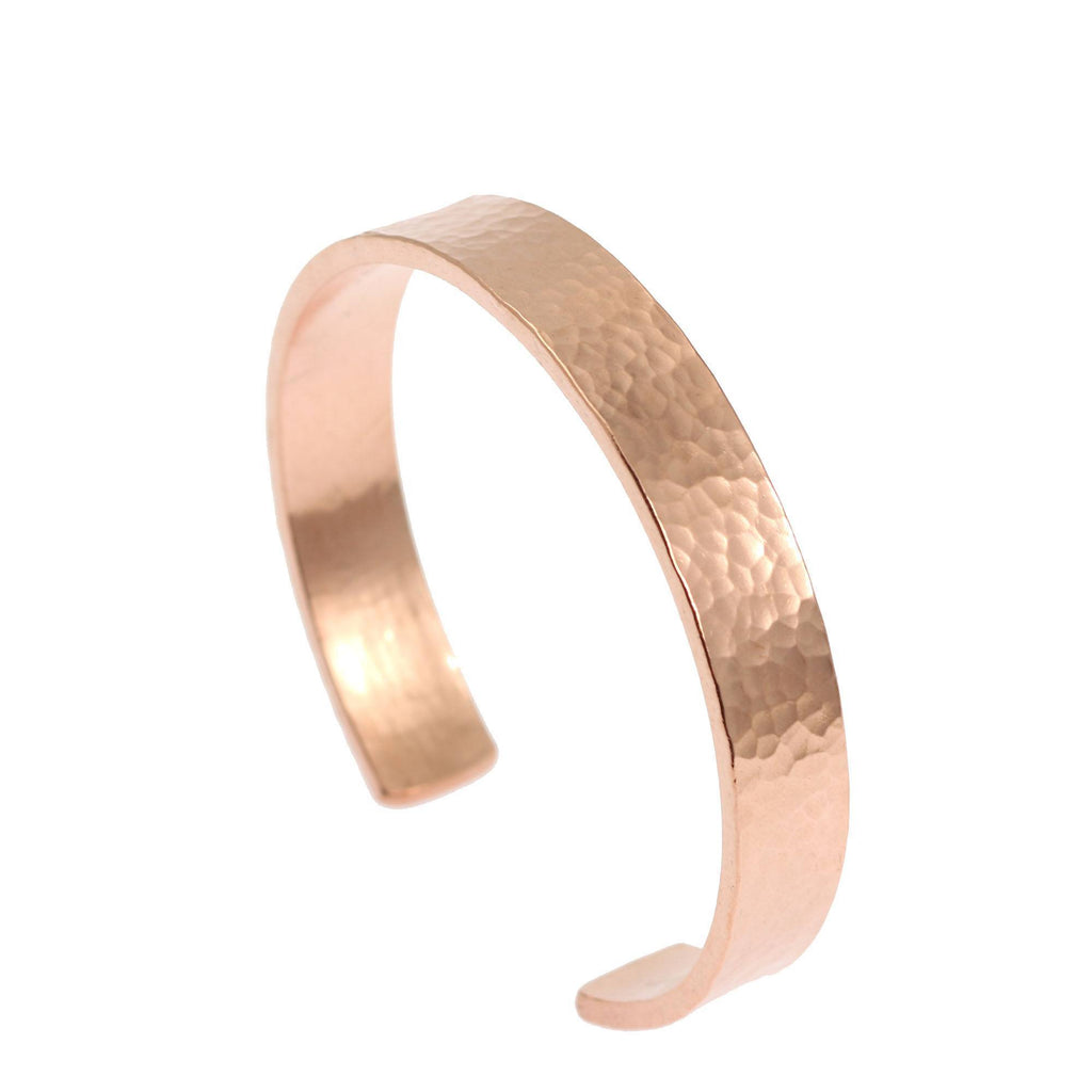 10mm Wide Hammered Copper Cuff Bracelet - Solid Copper Cuff - johnsbrana - 4