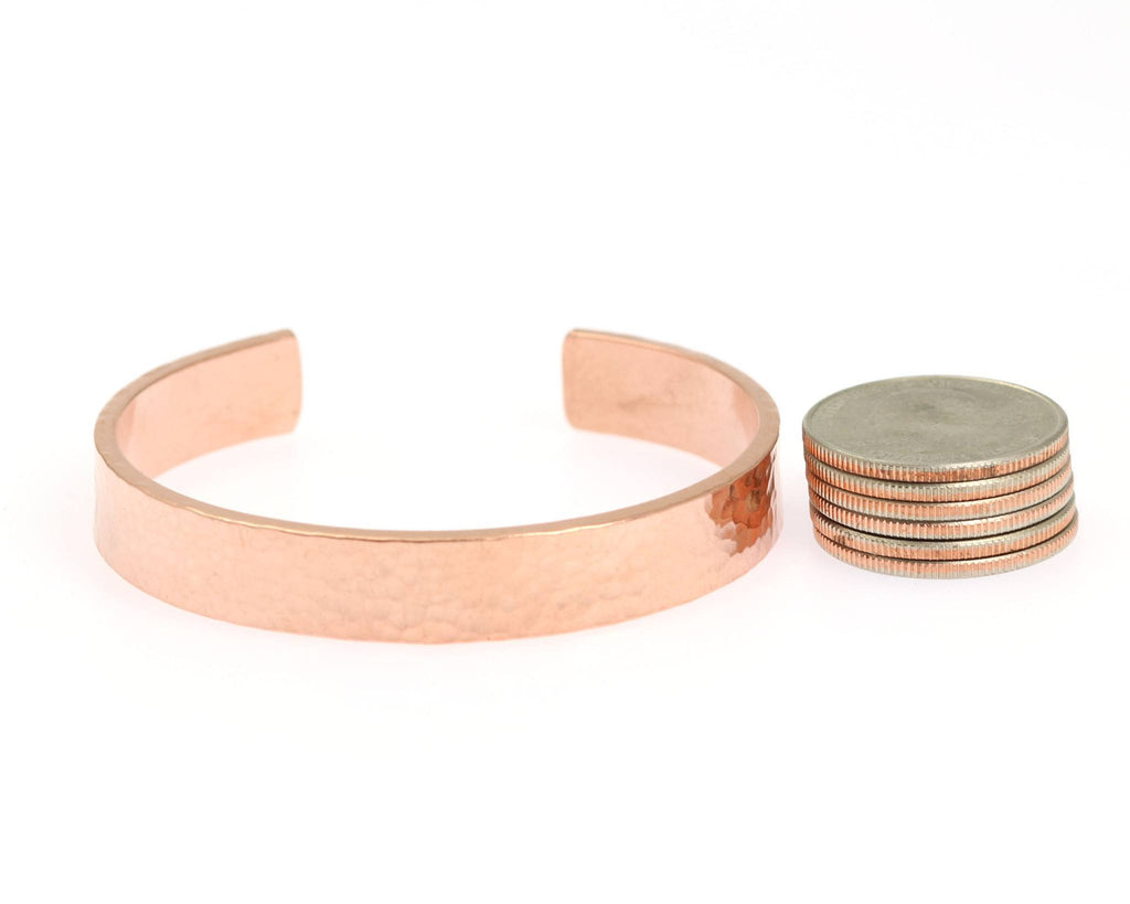 10mm Wide Hammered Copper Cuff Bracelet - Solid Copper Cuff - johnsbrana - 5