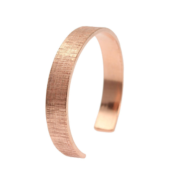 10mm Wide Linen Copper Cuff Bracelet - Solid Copper Cuff - johnsbrana - 1