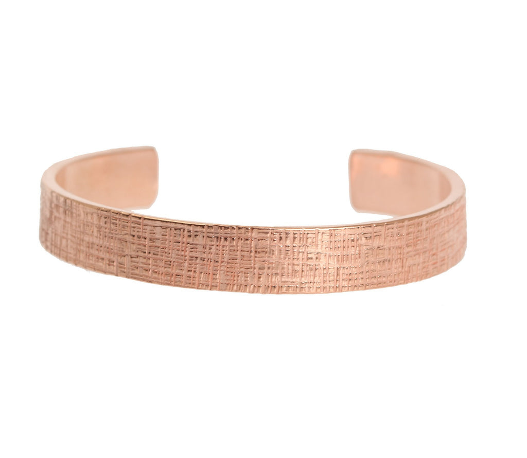 10mm Wide Linen Copper Cuff Bracelet - Solid Copper Cuff - johnsbrana - 2