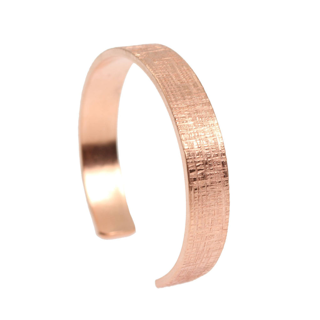 10mm Wide Linen Copper Cuff Bracelet - Solid Copper Cuff - johnsbrana - 3