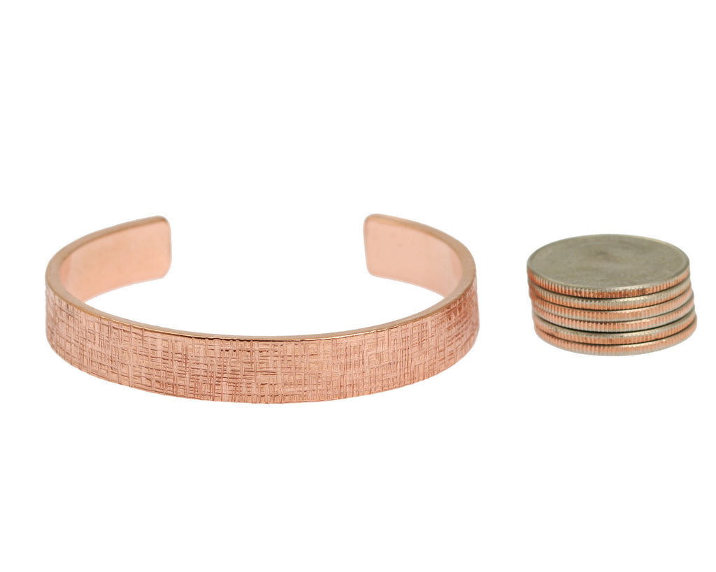 Cuffs - 10mm Wide Linen Copper Cuff Bracelet - Solid Copper Cuff