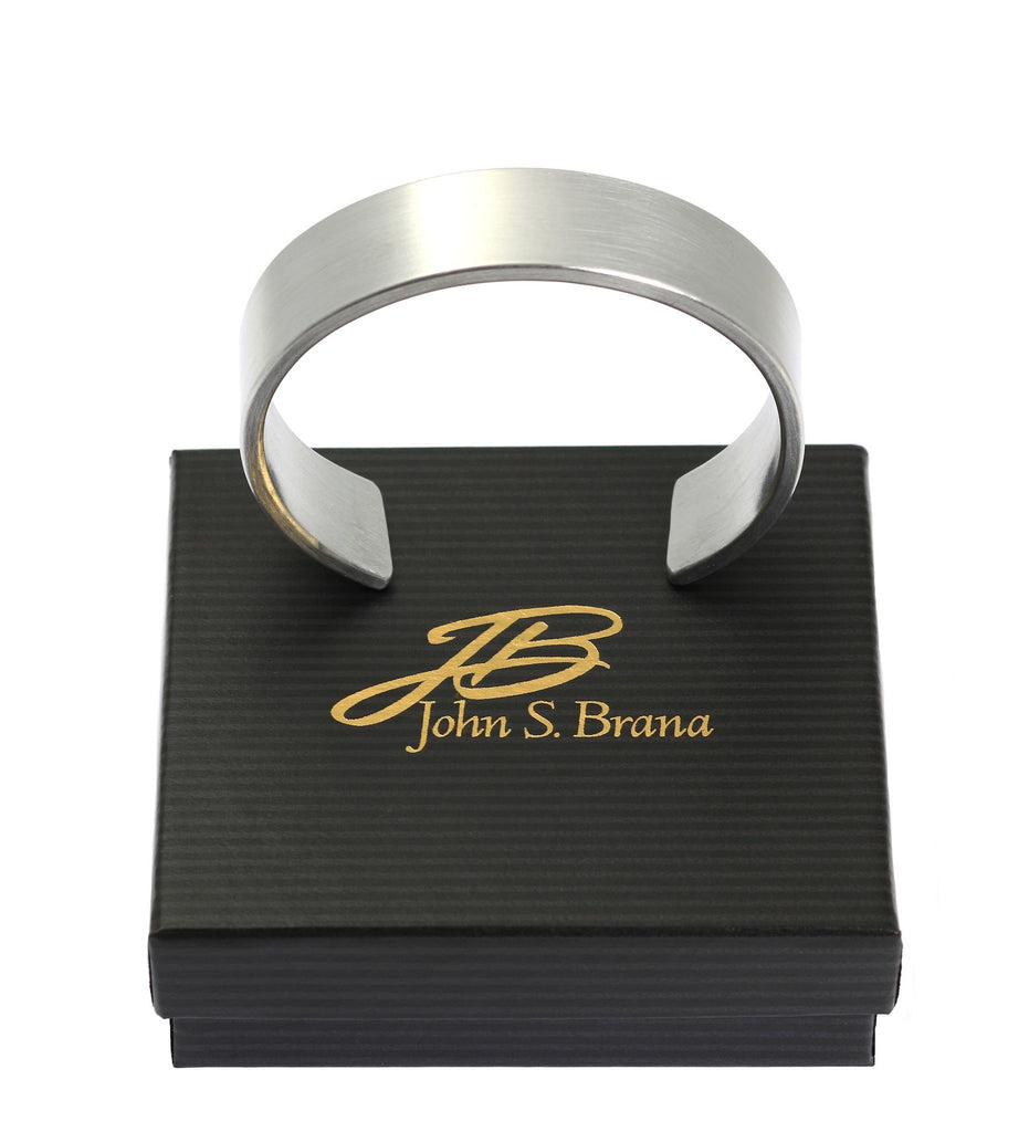 19mm Brushed Aluminum Cuff Bracelet - johnsbrana - 6