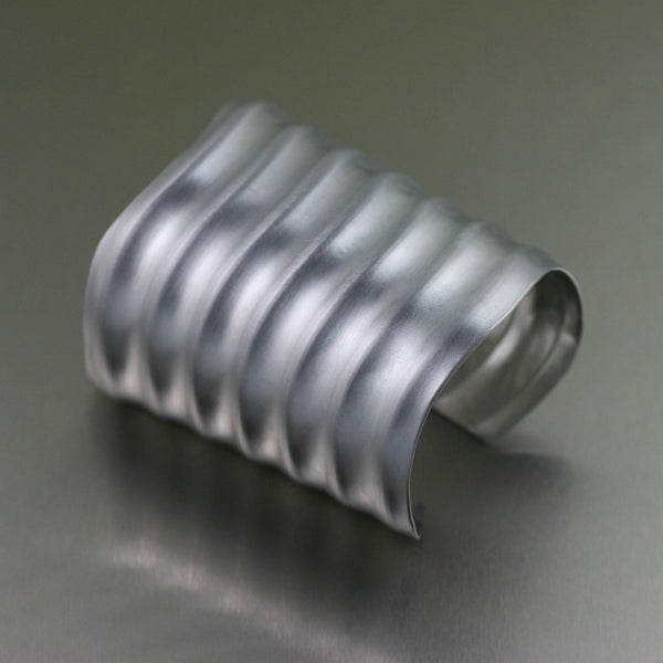 Brushed Aluminum Wave Cuff - johnsbrana - 1