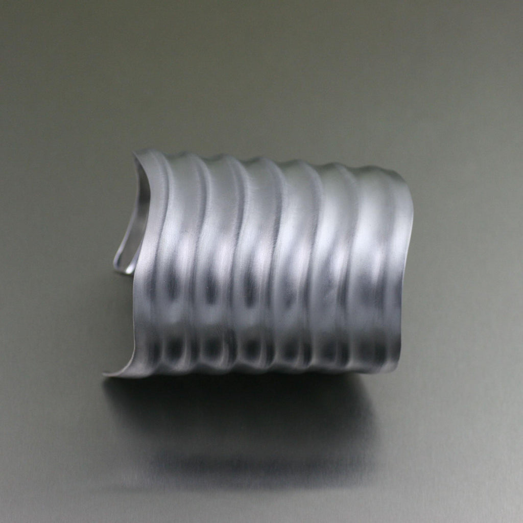 Brushed Aluminum Wave Cuff - johnsbrana - 2