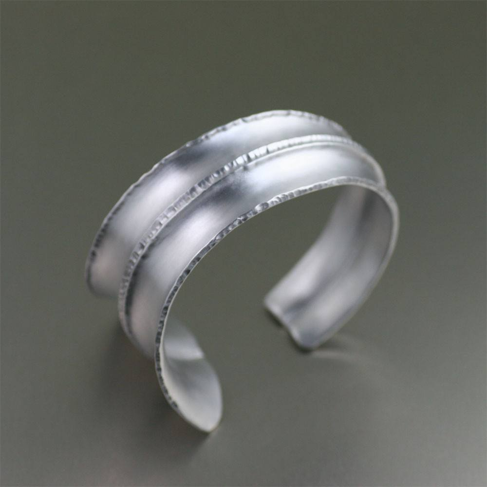Brushed Anticlastic Fold Formed Aluminum Cuff - johnsbrana - 1