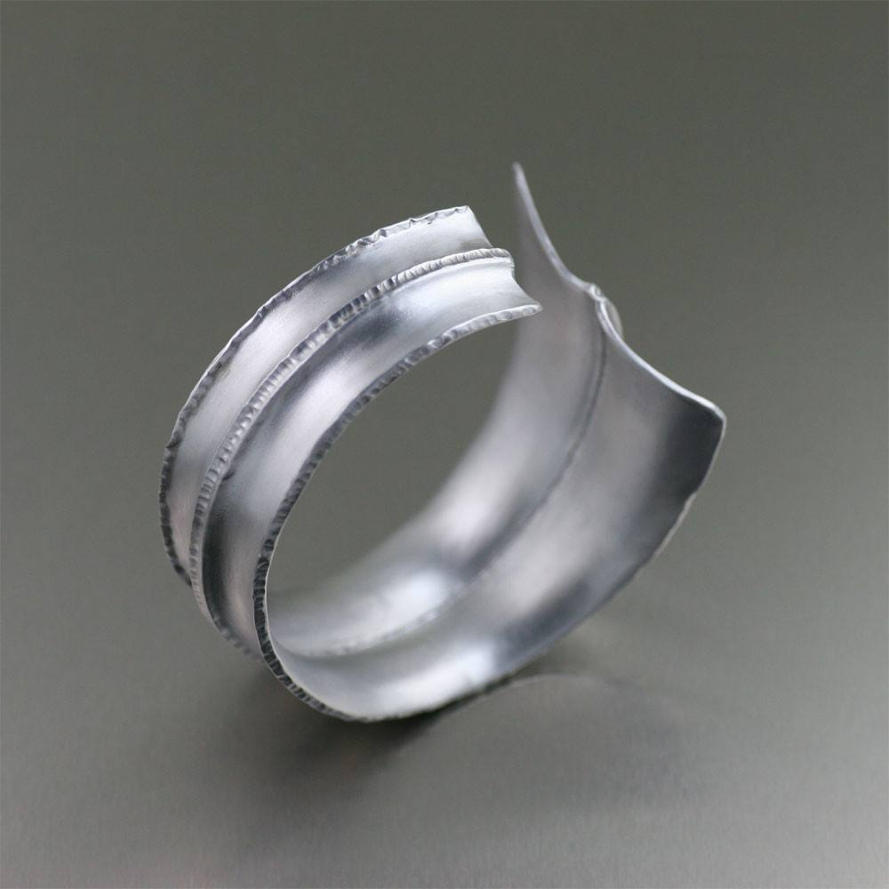 Brushed Anticlastic Fold Formed Aluminum Cuff - johnsbrana - 2